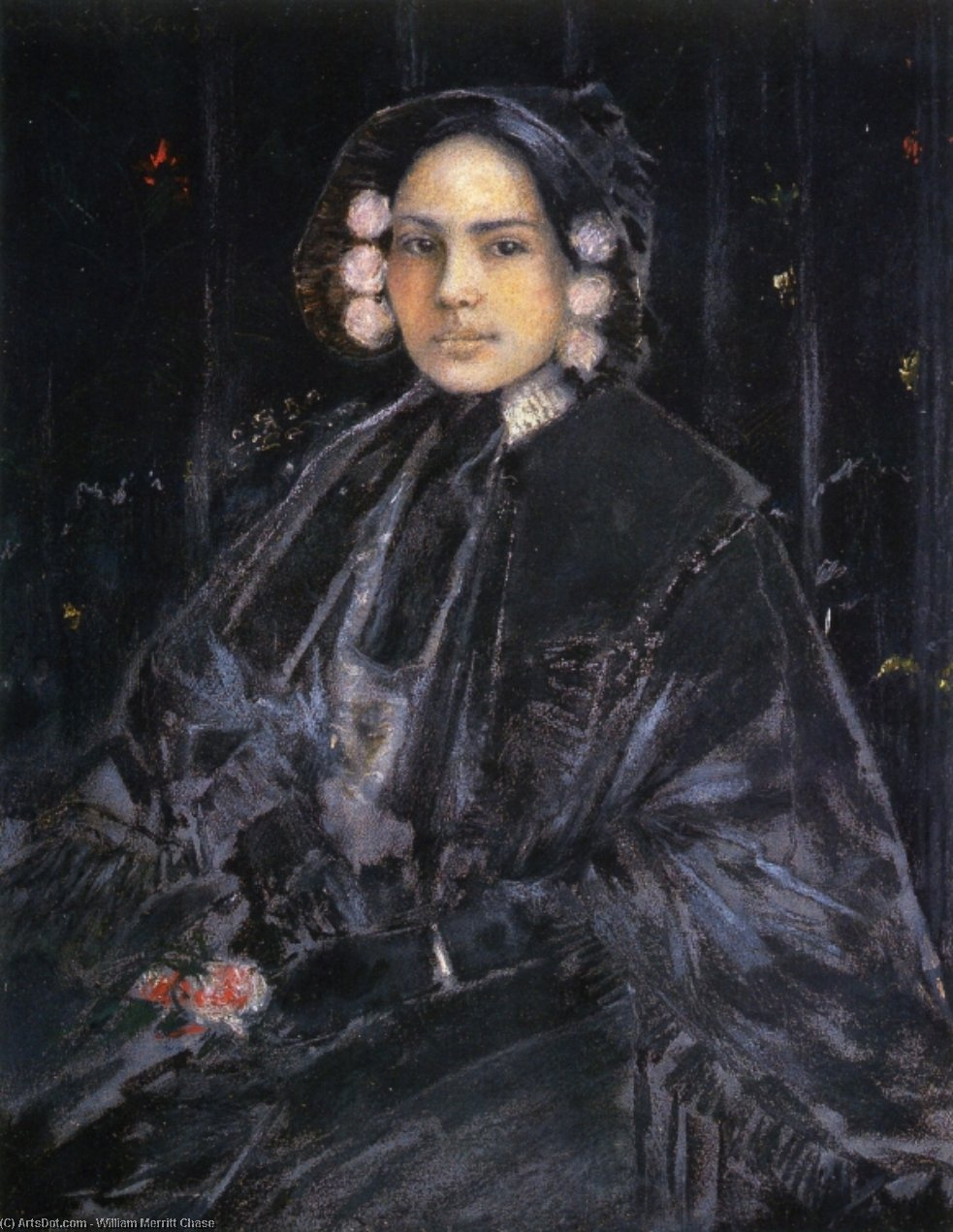 retrato de mrs . julius erson, en colores pastel de William Merritt Chase (1849-1916, United States)