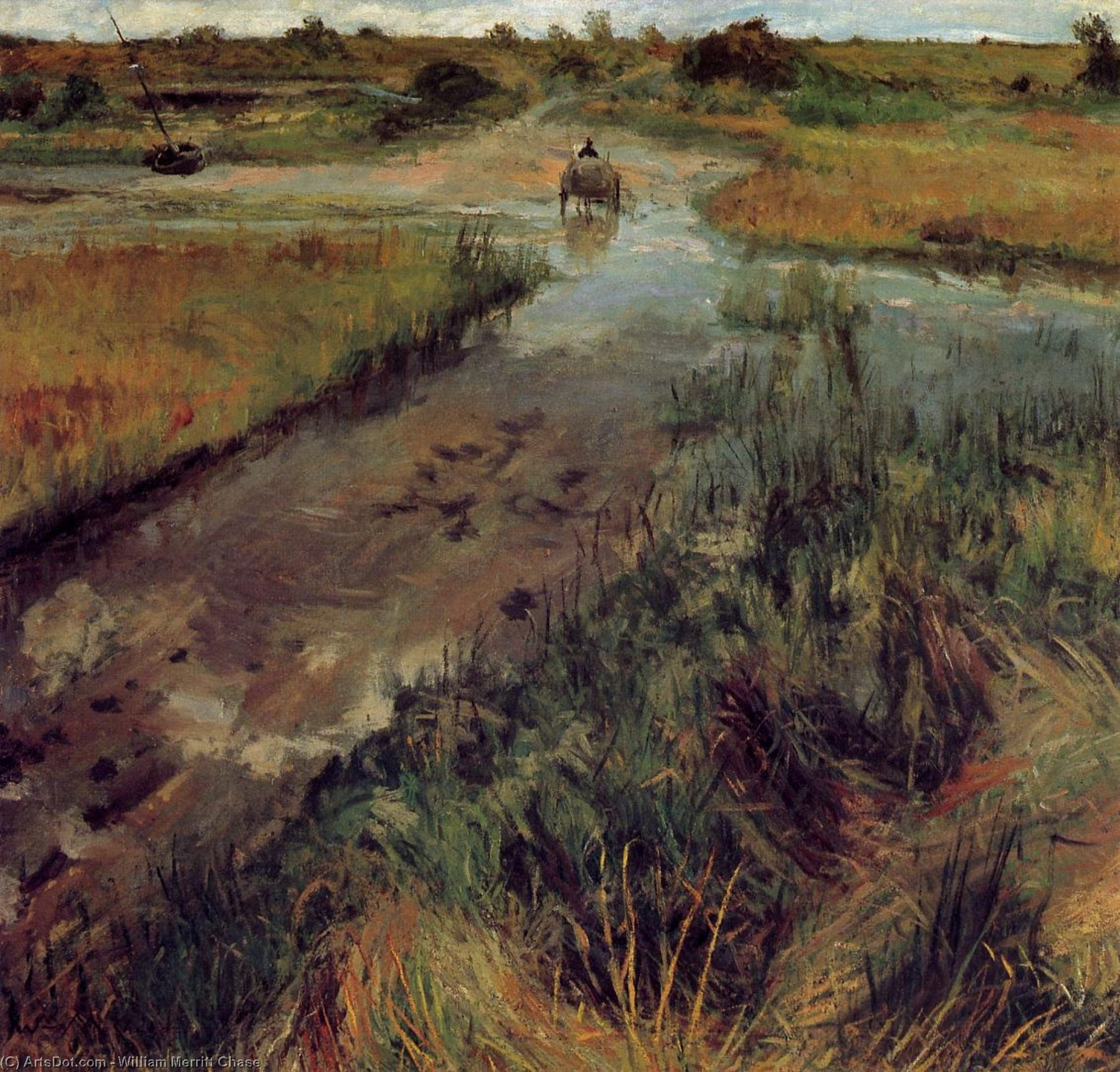 Corriente Hinchazón en Shinnecock, óleo sobre lienzo de William Merritt Chase (1849-1916, United States)