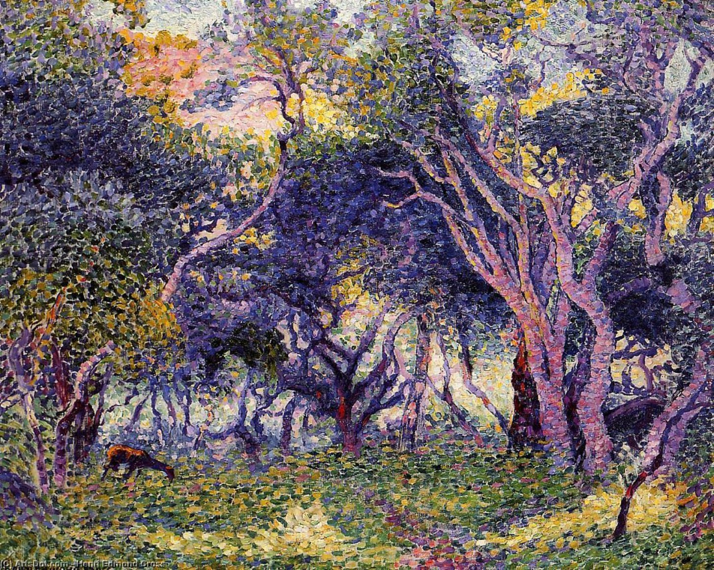 en el bosque, óleo sobre lienzo de Henri Edmond Cross (1856-1910, France)
