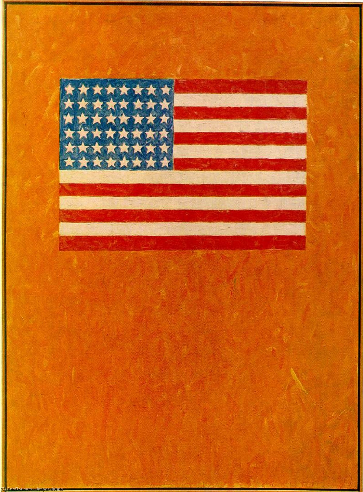 bandera on orange campo, óleo sobre lienzo de Jasper Johns