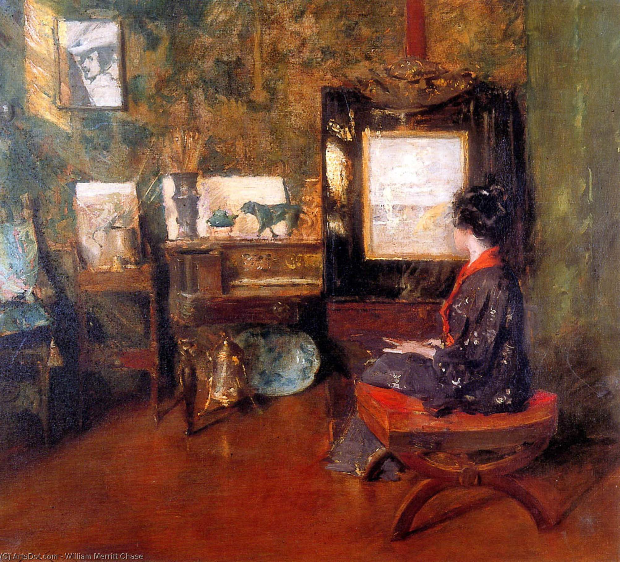 Alicia en el país estudio en shinnecock isla grande Terraza de William Merritt Chase (1849-1916, United States)