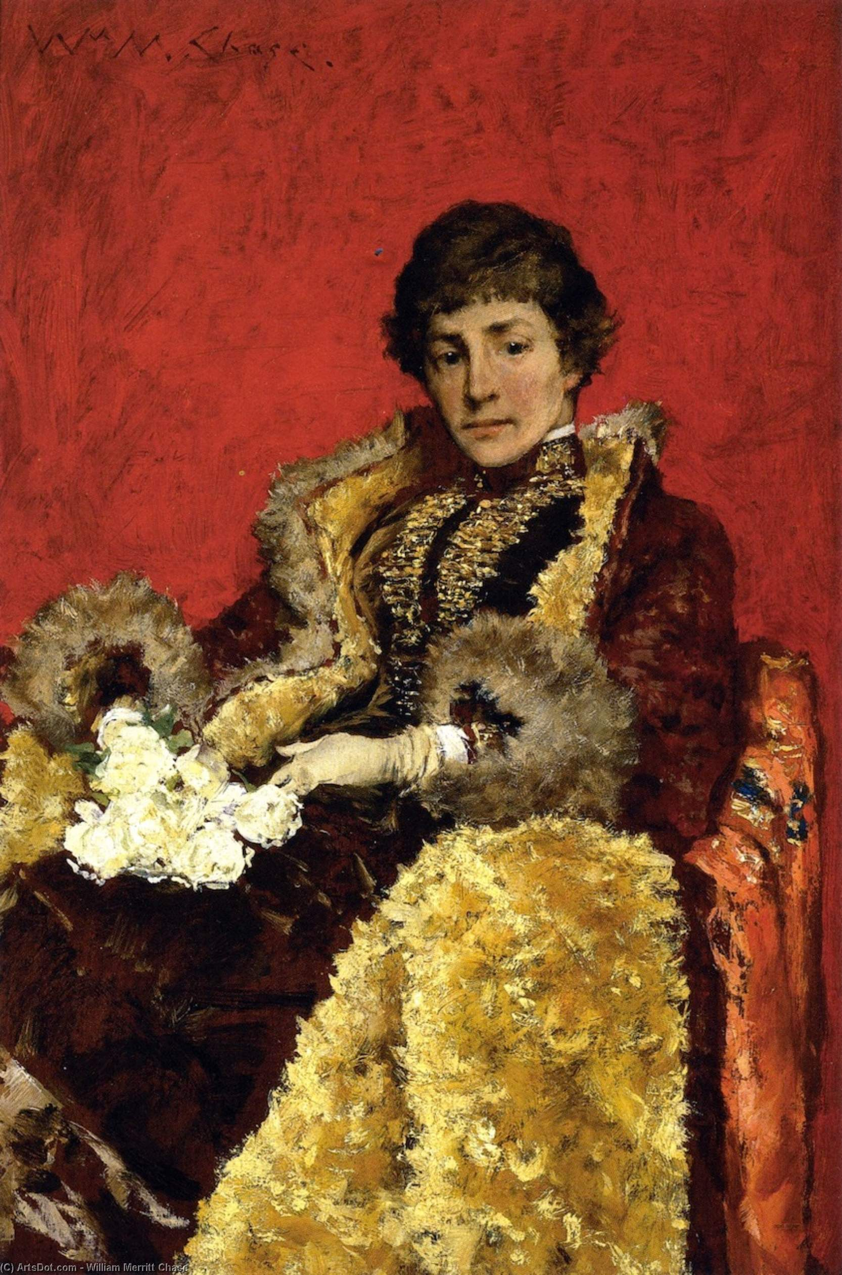 retrato de mrs . Marido . ( también conocido como retrato de señora . Howell ), oleo en panel de William Merritt Chase (1849-1916, United States)