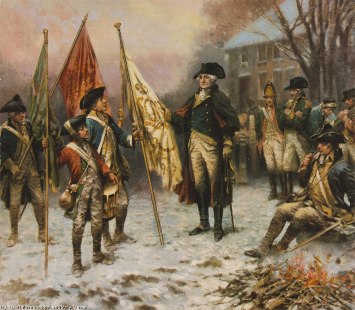 Washington Inspeccionando los colores capturados después la batalla de Trenton de Edward Percy Moran (1829-1901, United Kingdom)