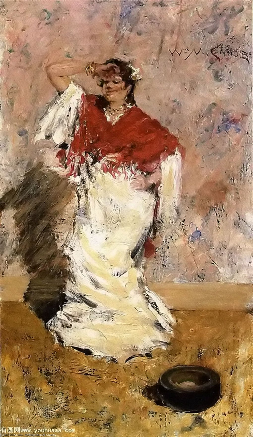 baile chica, óleo sobre lienzo de William Merritt Chase (1849-1916, United States)
