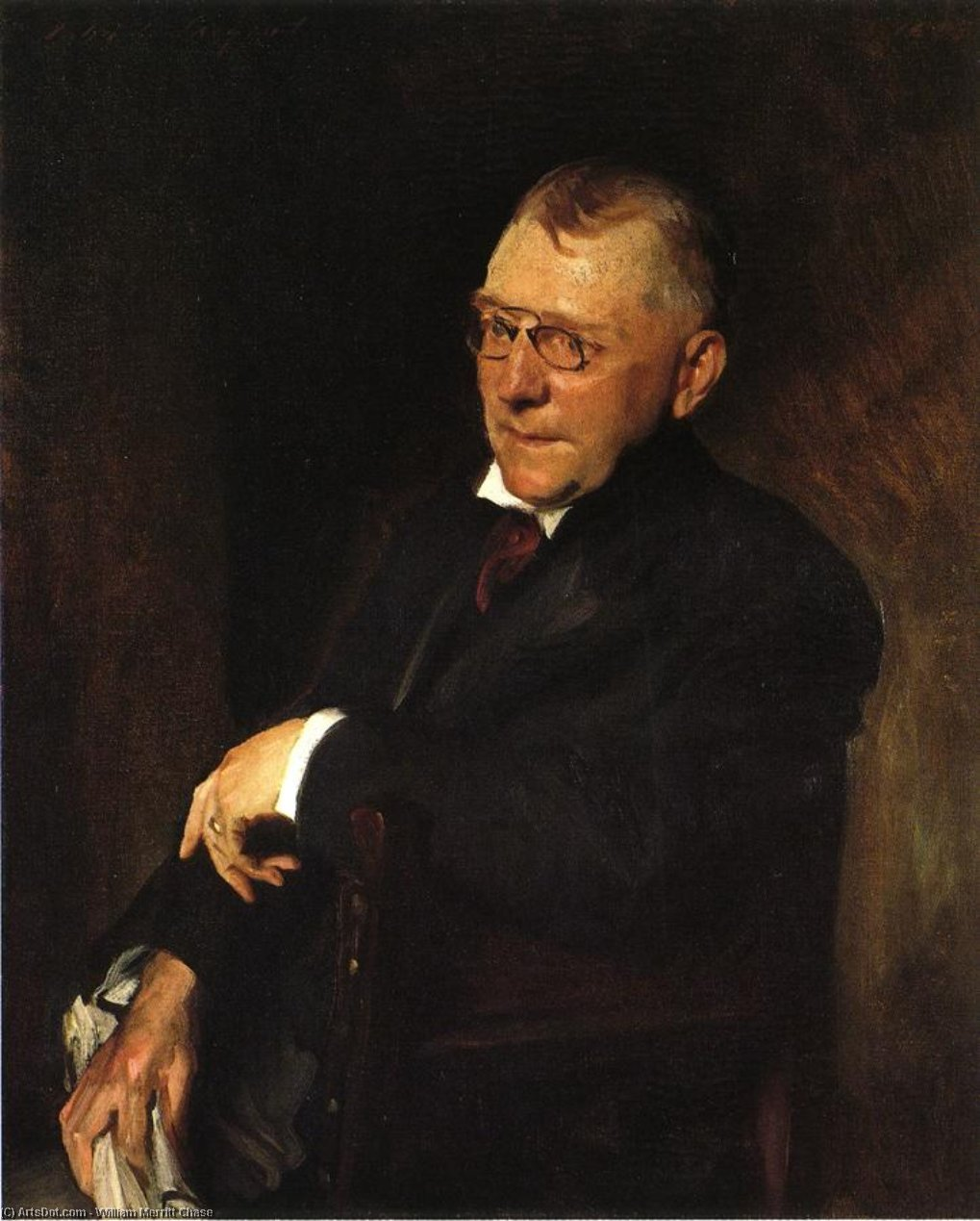 Retrato de James Whitcomb Riley, óleo sobre lienzo de William Merritt Chase (1849-1916, United States)