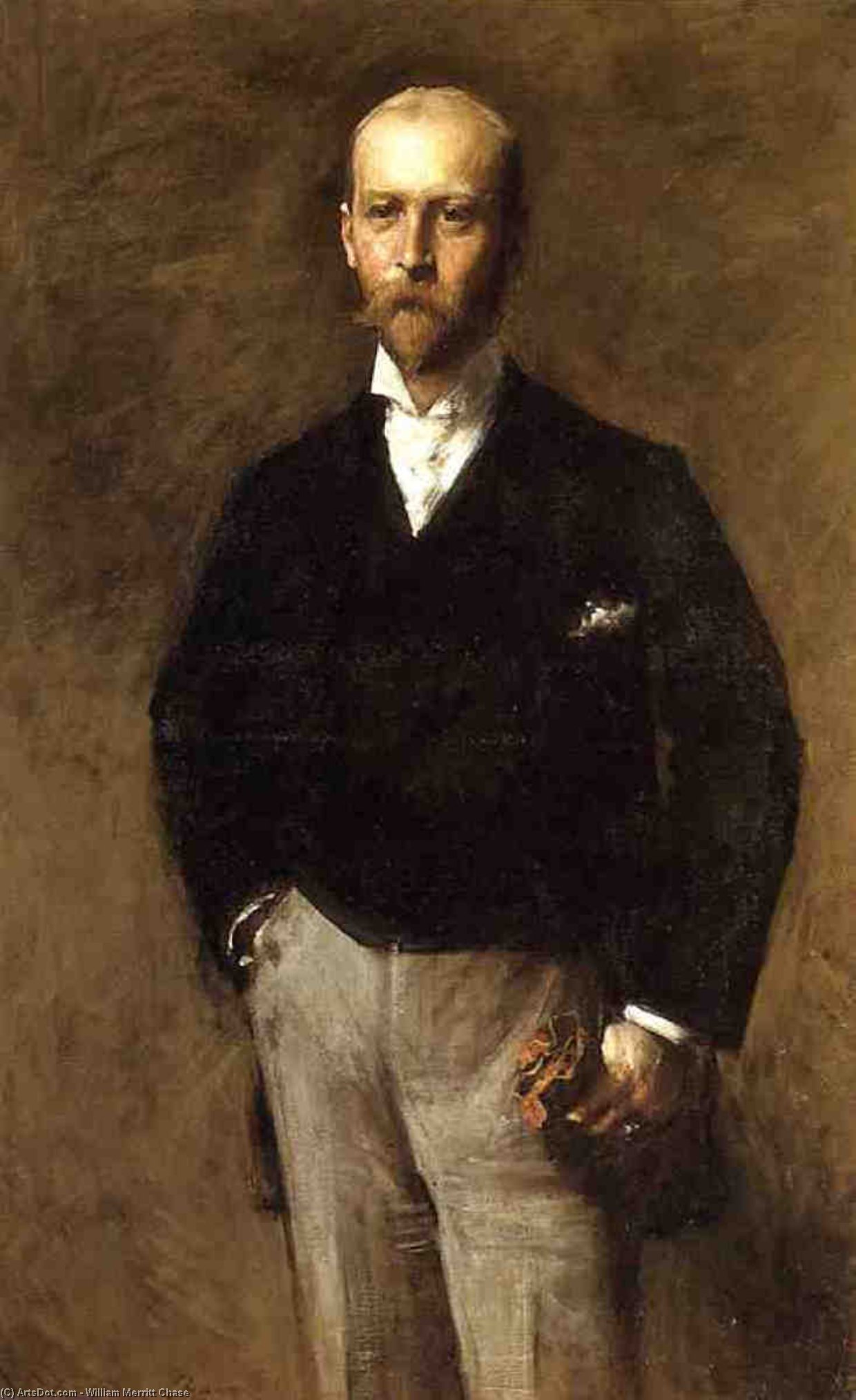Botas retrato de william charles le gendre, óleo sobre lienzo de William Merritt Chase (1849-1916, United States)