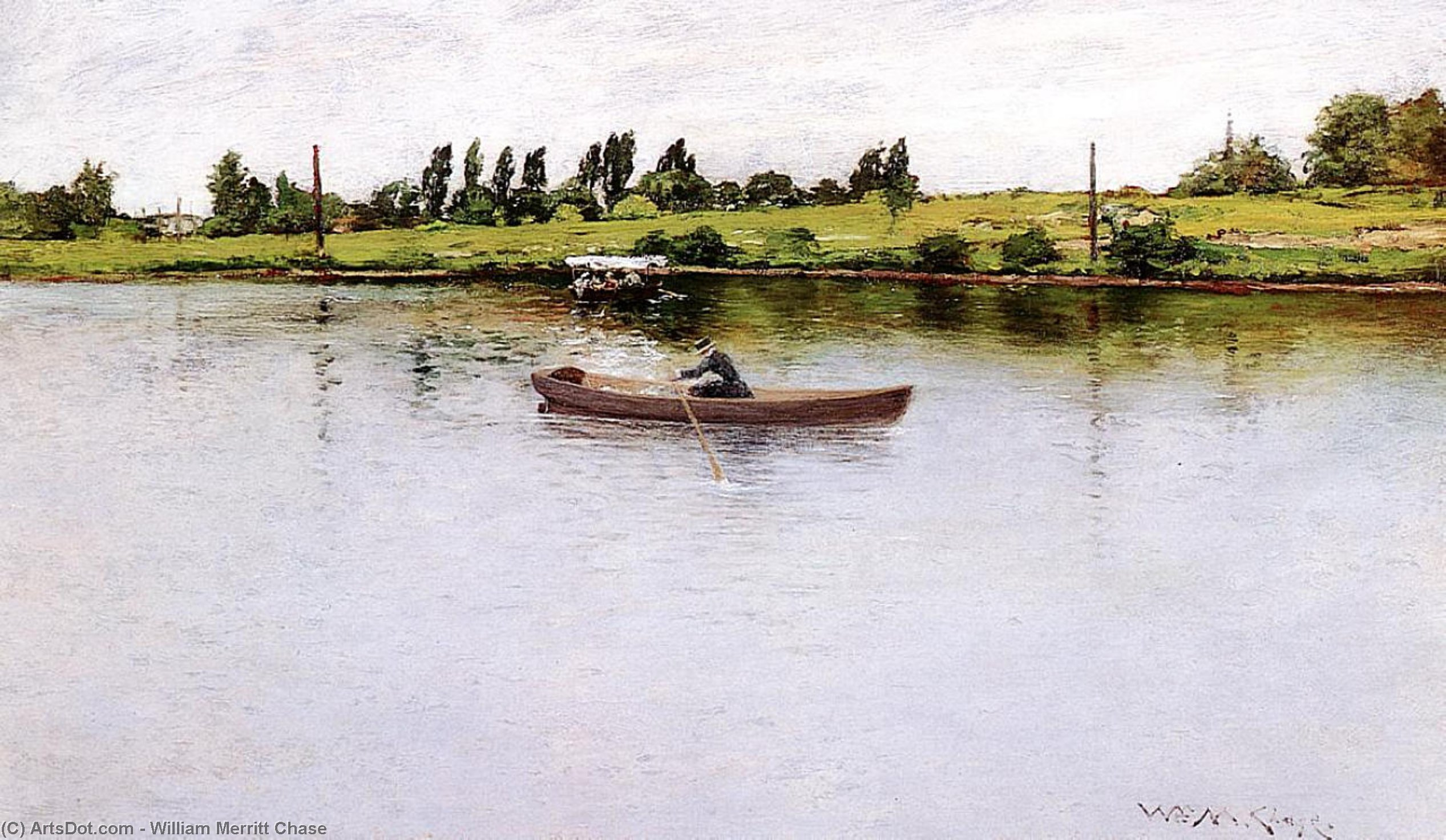 Tirando de Shore, oleo en panel de William Merritt Chase (1849-1916, United States)