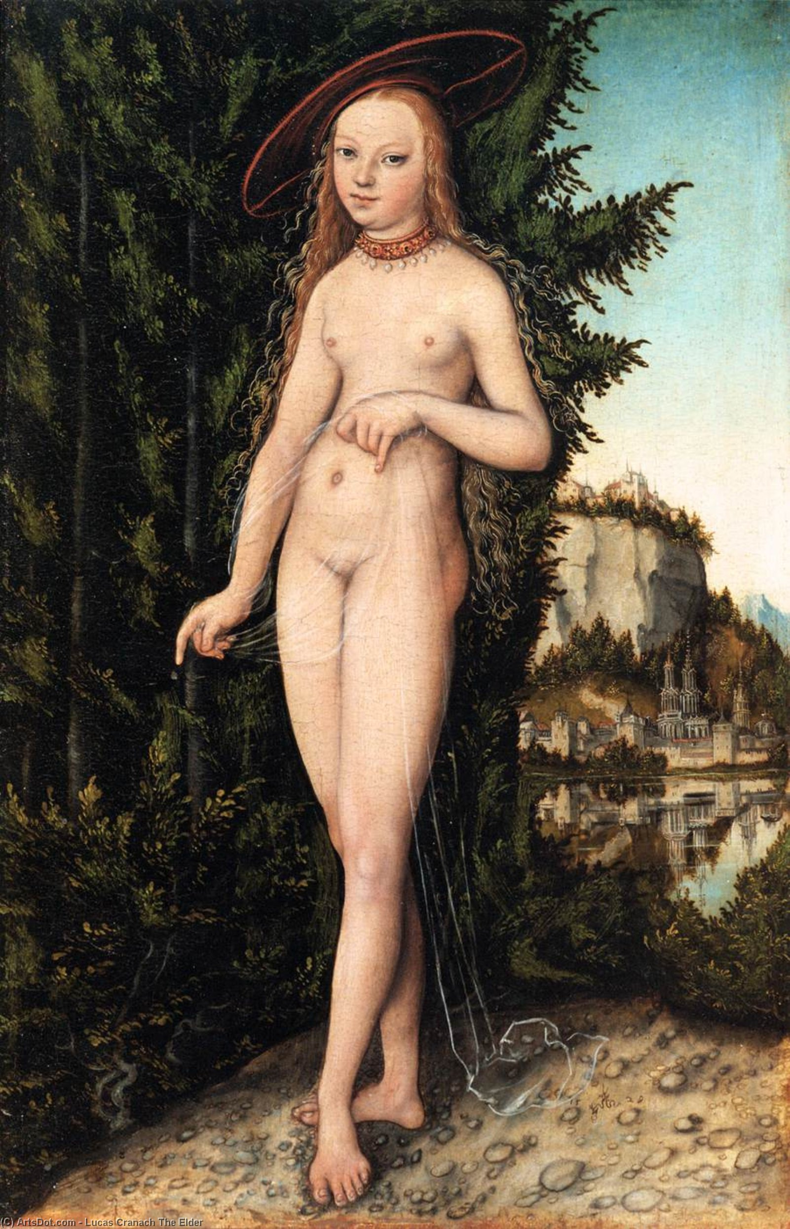 Venus de pie en un paisaje, aceite de Lucas Cranach The Elder (1472-1553, Germany)