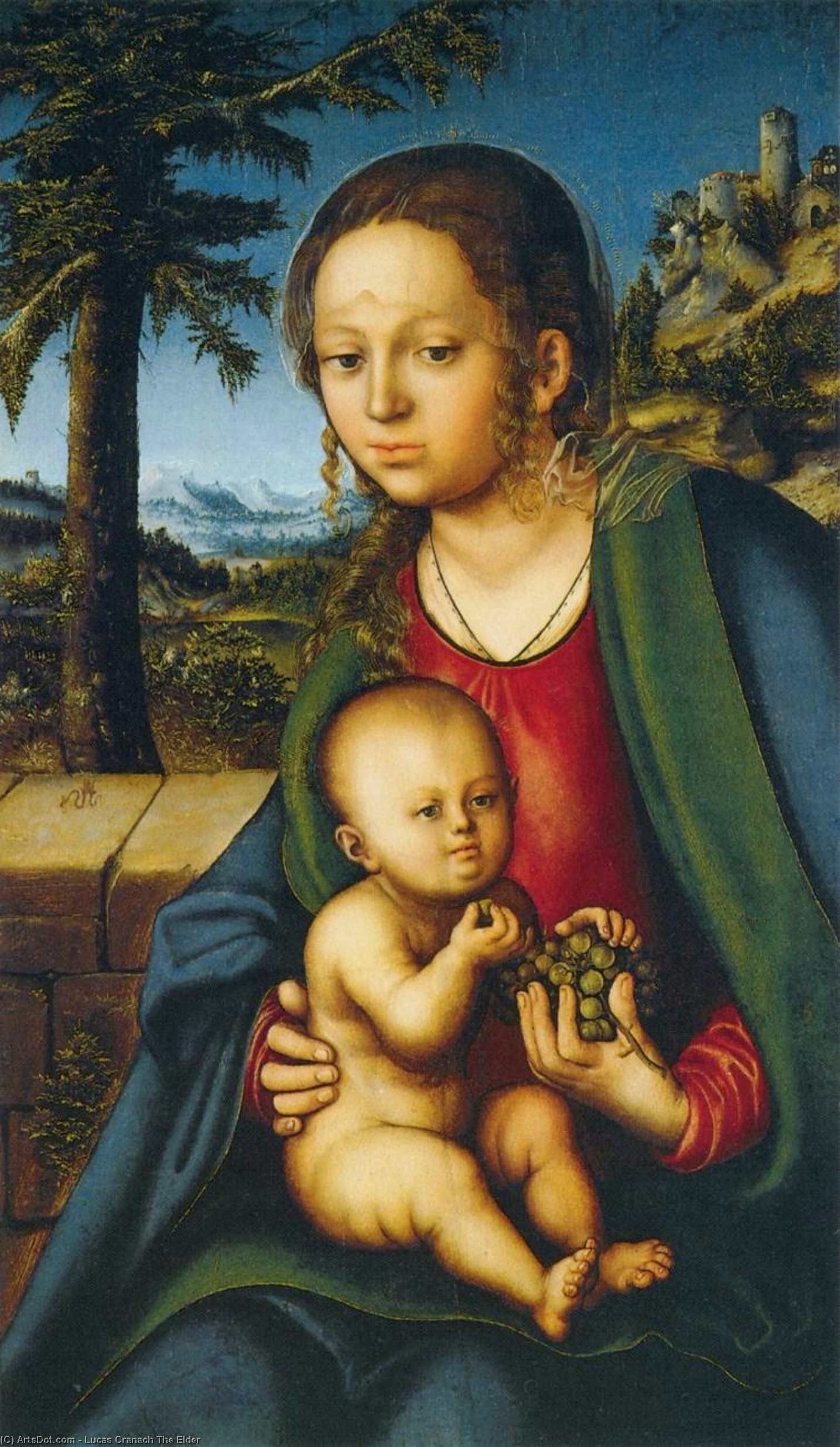 virgen y el niño enestado  Un  Manojo  todaclasede  uvas , Óleo sobre tabla de Lucas Cranach The Elder (1472-1553, Germany)