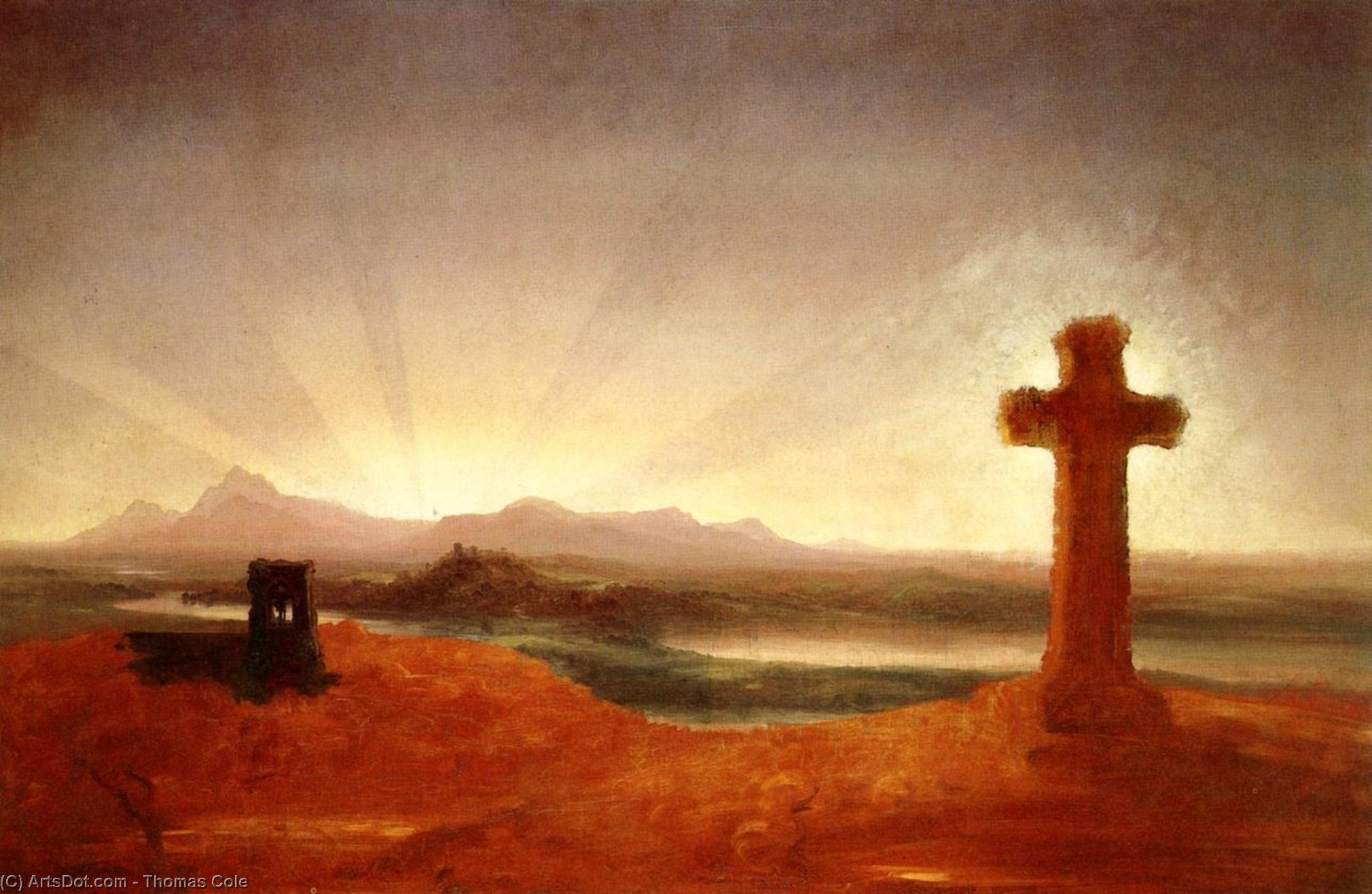 cruz al atardecer, óleo sobre lienzo de Thomas Cole (1801-1848, United Kingdom)