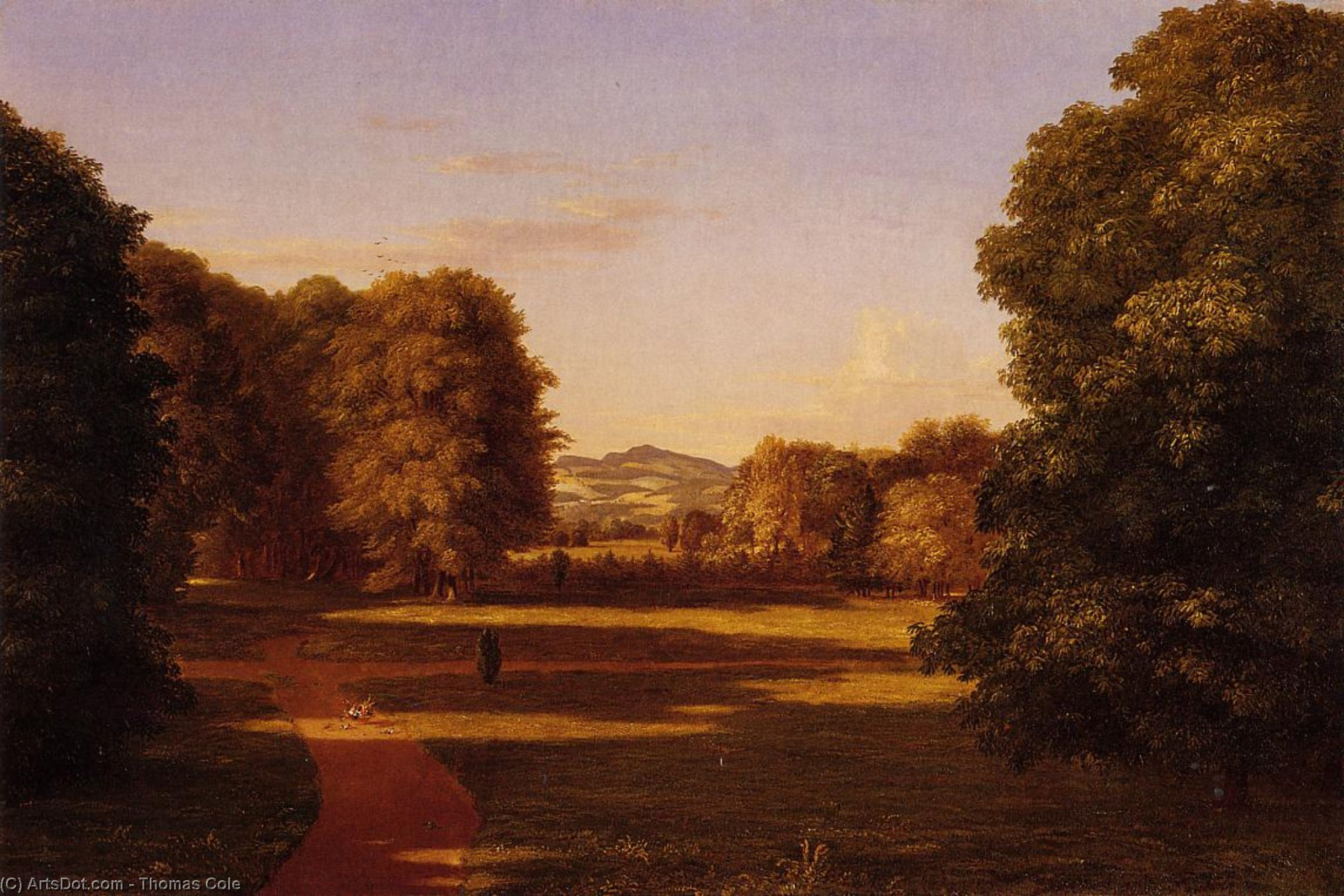 Los Jardines de la Van Rensselaer Manor House, óleo sobre lienzo de Thomas Cole (1801-1848, United Kingdom)