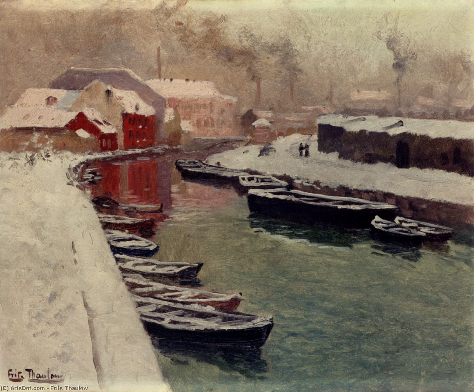 Un Nevado Harbor View, óleo sobre lienzo de Frits Thaulow (1847-1906, Norway)