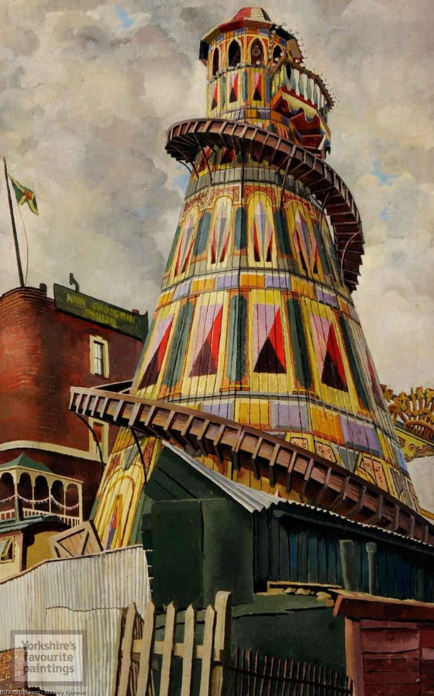 helter skelter . heath hampstead de Stanley Spencer (1891-1959, United Kingdom)