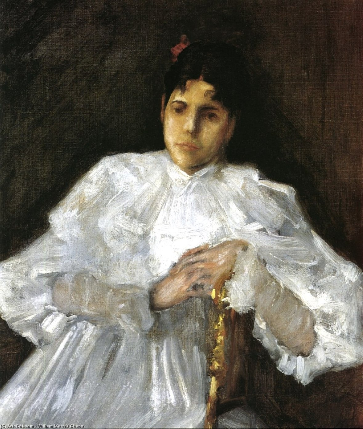 chica en blanco, óleo sobre lienzo de William Merritt Chase (1849-1916, United States)