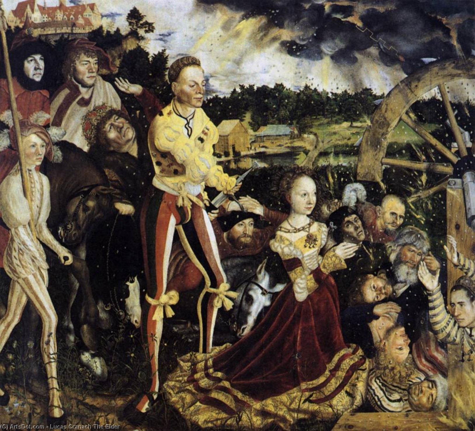 el martirio de san Catalina , oleo en panel de Lucas Cranach The Elder (1472-1553, Germany)