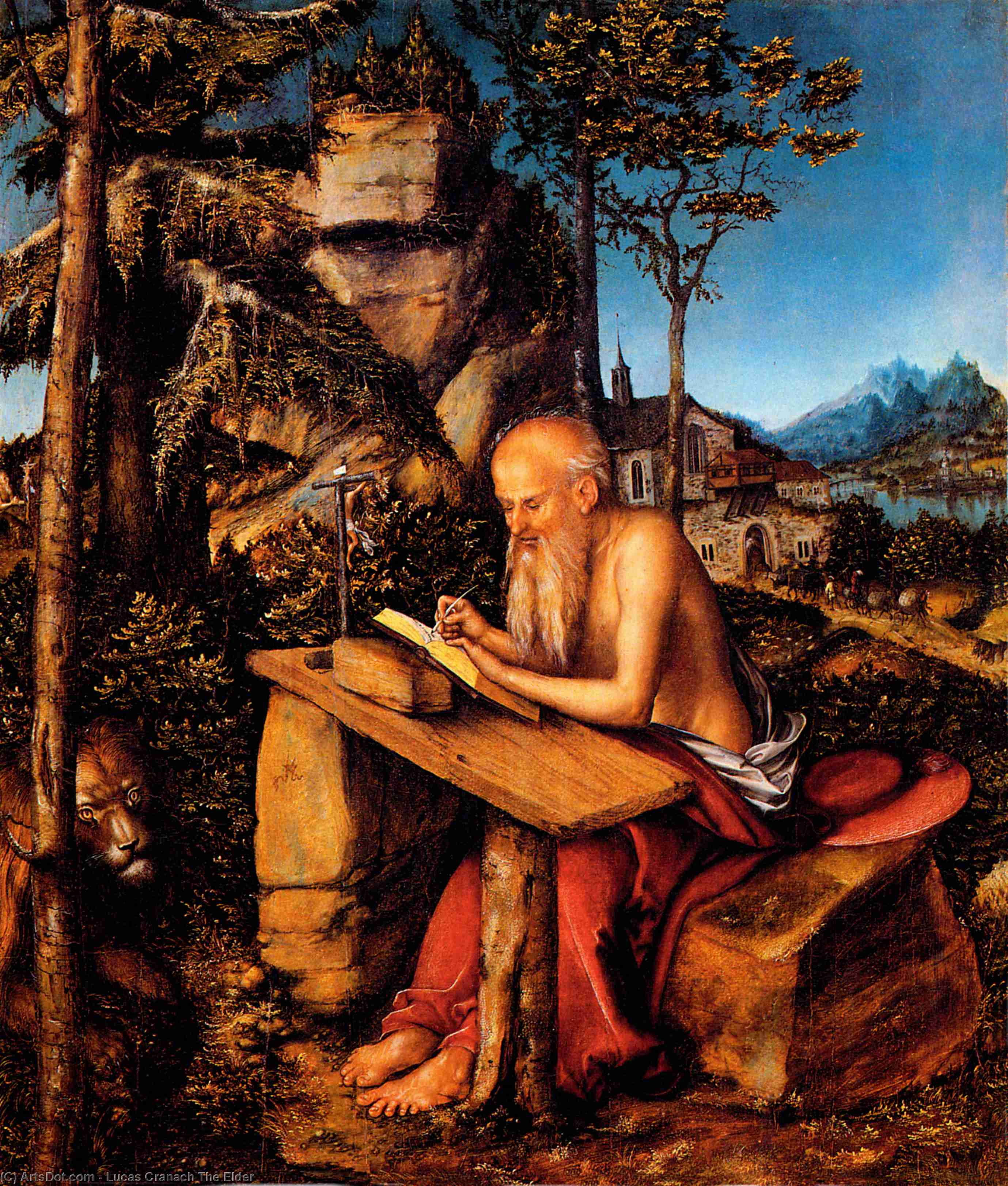 San Jerónimo, oleo en panel de Lucas Cranach The Elder (1472-1553, Germany)