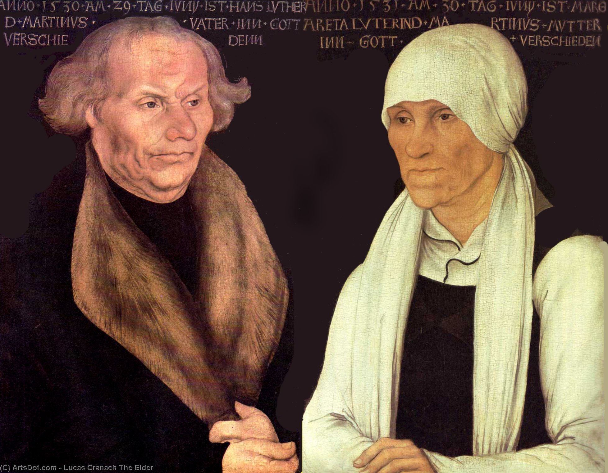 Hans y Magrethe Lutero, oleo en panel de Lucas Cranach The Elder (1472-1553, Germany)