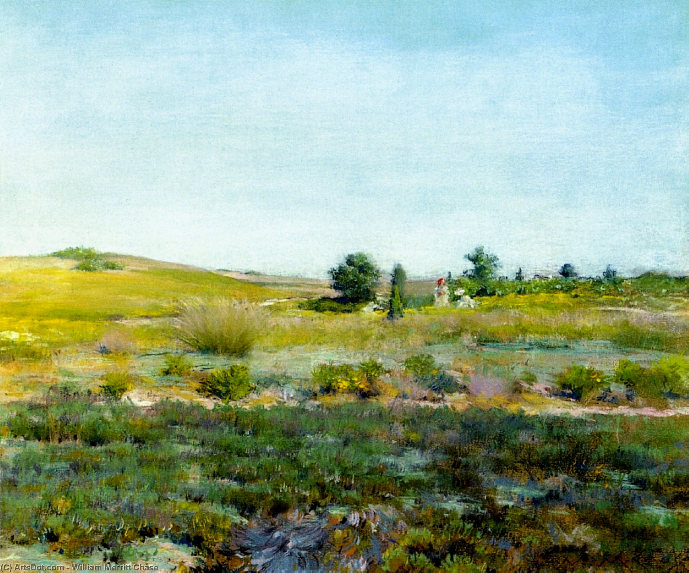 Shinnecock Colinas , Estival, en colores pastel de William Merritt Chase (1849-1916, United States)