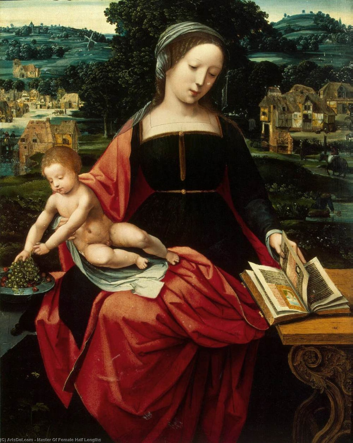 Madonna y el Niño, oleo en panel de Master Of Female Half Lengths