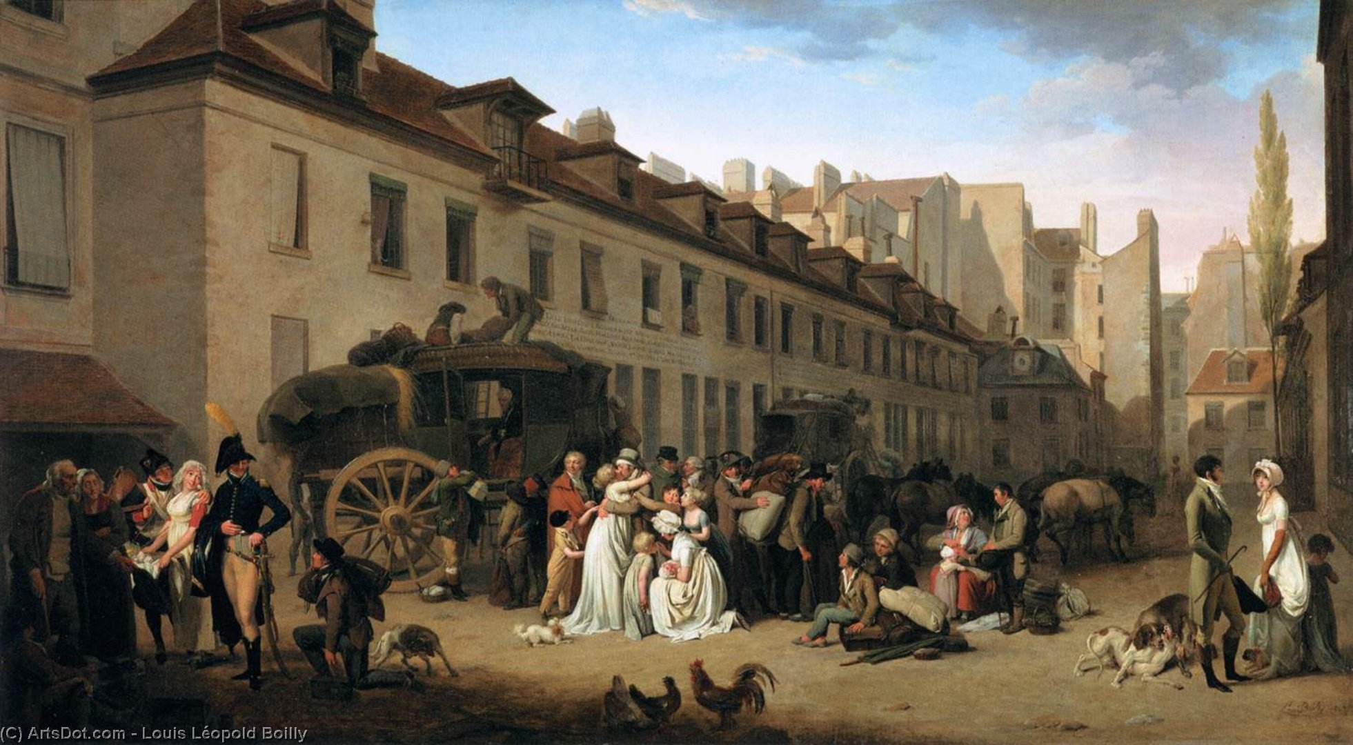 la llegada de un Stage-coach en el patio de los Messageries, óleo sobre lienzo de Louis Léopold Boilly (1761-1845, France)