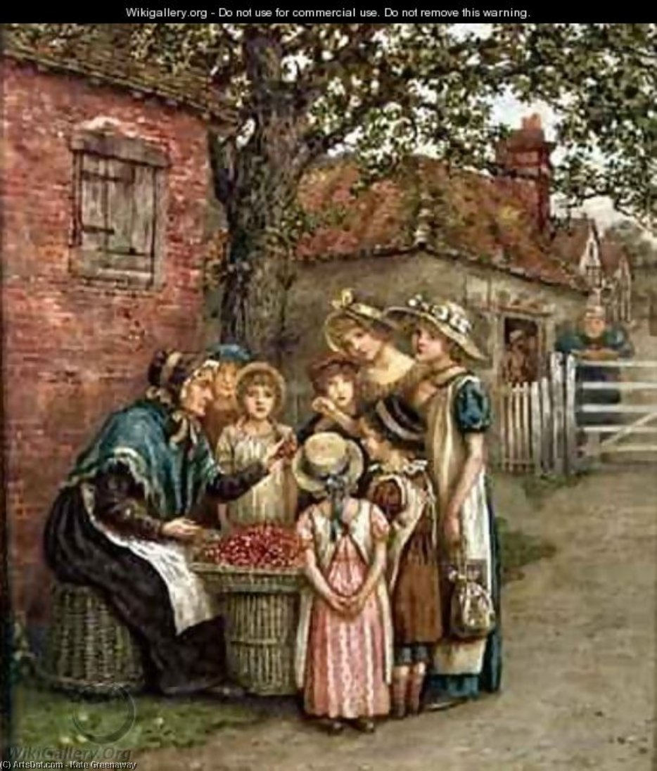 La cereza mujer  de Kate Greenaway (1846-1901, United Kingdom)