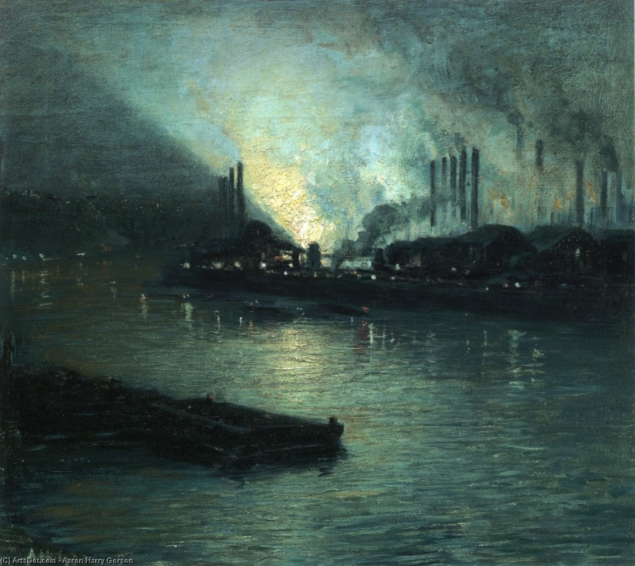 pittsburgh industrial Nocturno de Aaron Harry Gorson (1872-1933, Lithuania)