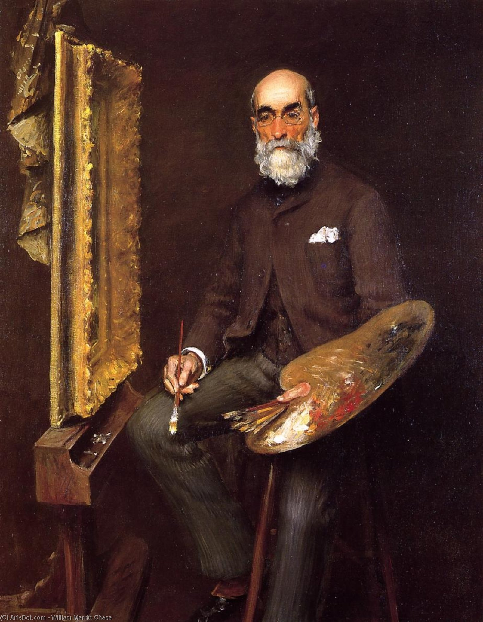 Retrato de Worthington Whittredge, óleo sobre lienzo de William Merritt Chase (1849-1916, United States)