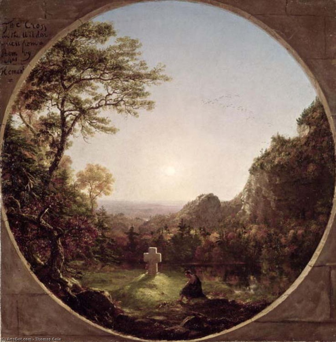 La Cruz solitario, aceite de Thomas Cole (1801-1848, United Kingdom)