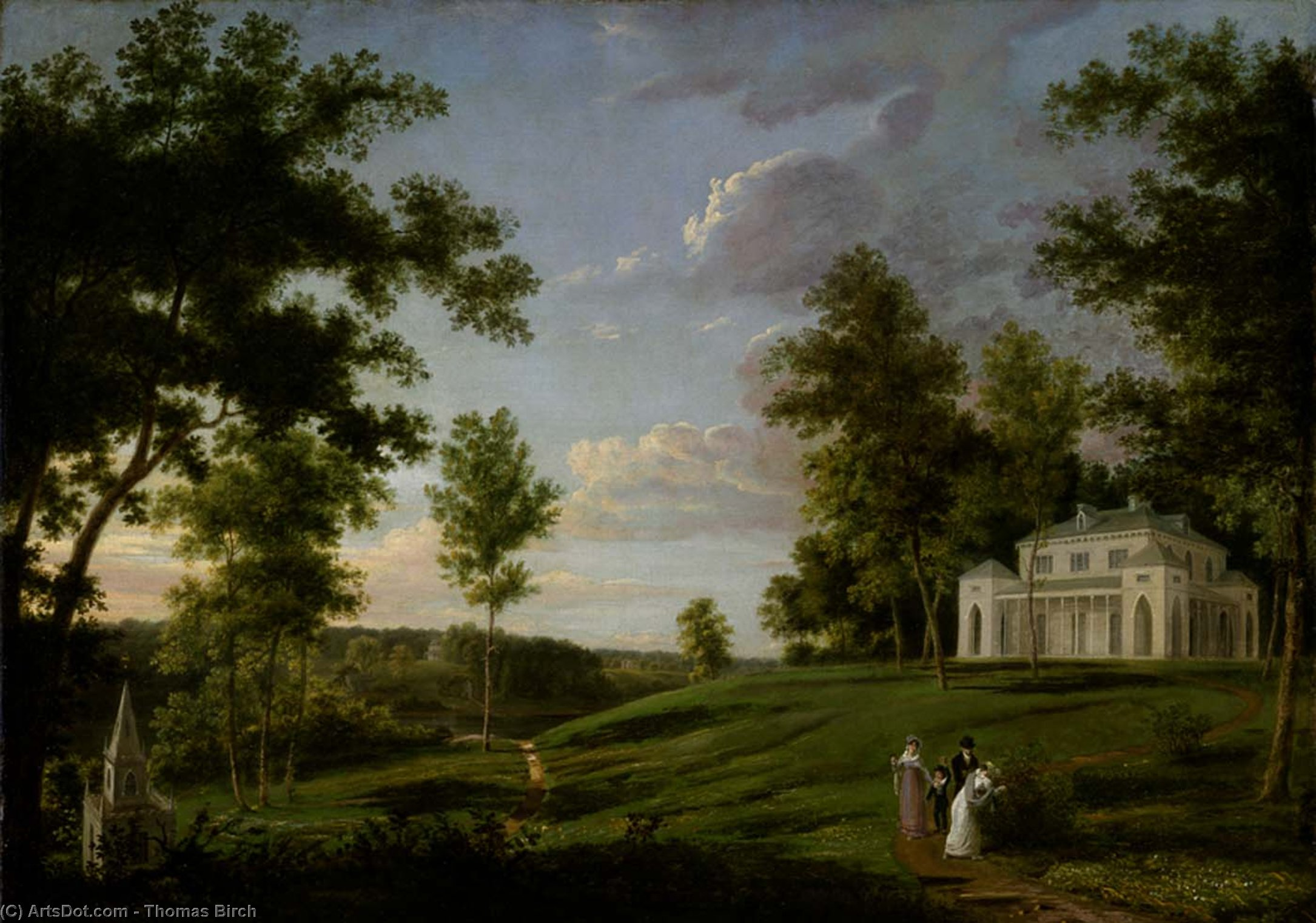 sudeste vista de sedgeley park , la plaza país de james cowles fisher , Esq ., aceite de Thomas Birch (1779-1851, United Kingdom)