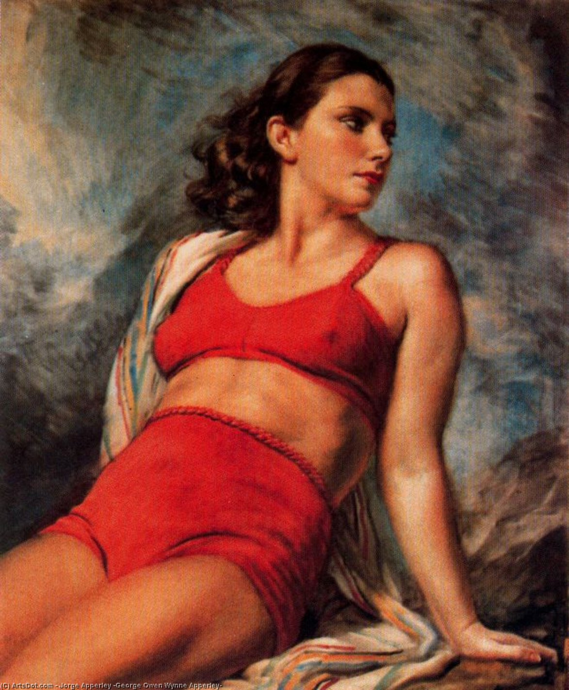 Maillot rojo de Jorge Apperley (George Owen Wynne Apperley) (1884-1960, United Kingdom)