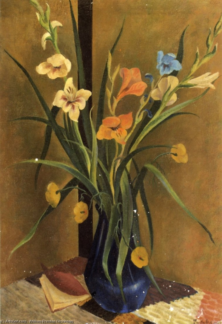 Flores en un Jarrón, óleo sobre lienzo de William Preston Dickinson (1889-1930, United States)
