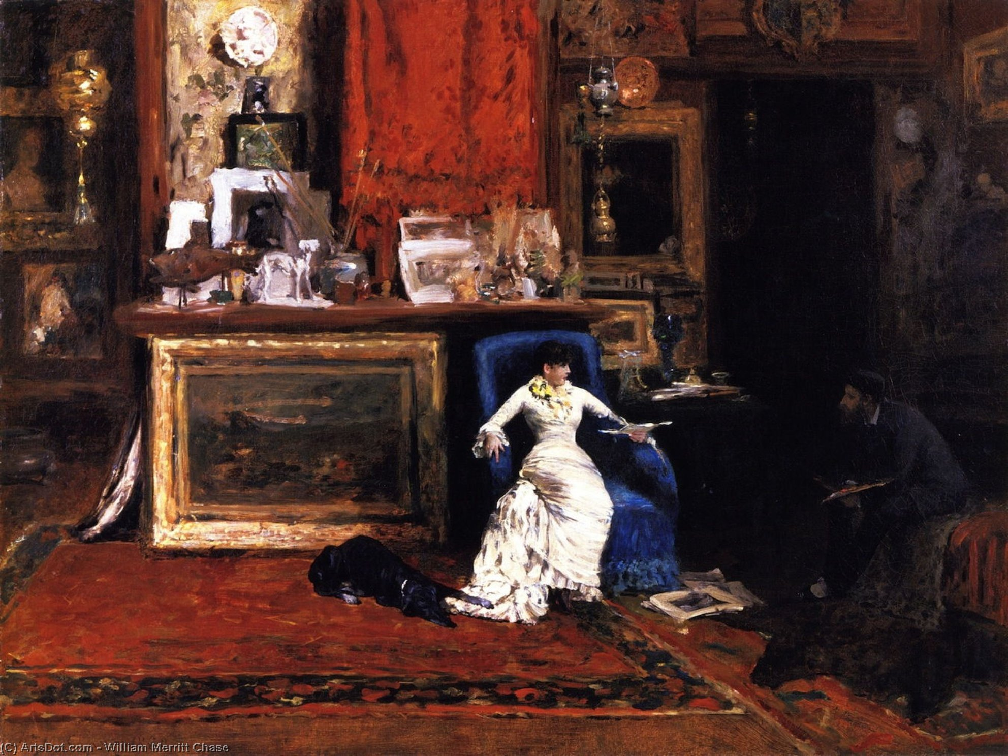 Interior de la Artist's Estudio ( también conocido como the tenth street studio ), óleo sobre lienzo de William Merritt Chase (1849-1916, United States)