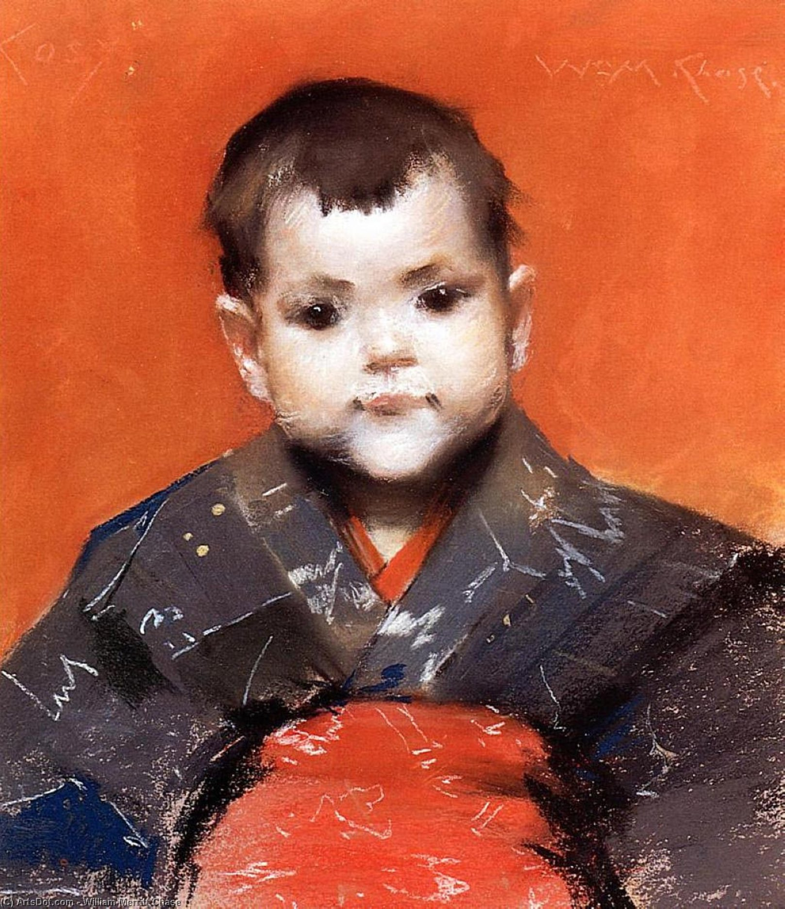 mi bebé ( aka Acogedor ), en colores pastel de William Merritt Chase (1849-1916, United States)