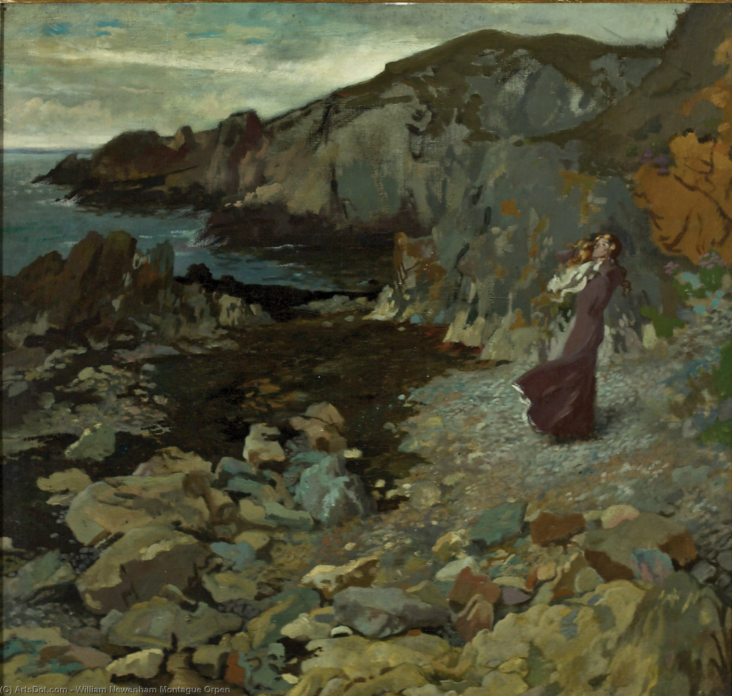 rocoso costa escena a Howth, óleo sobre lienzo de William Newenham Montague Orpen (1878-1931, Ireland)