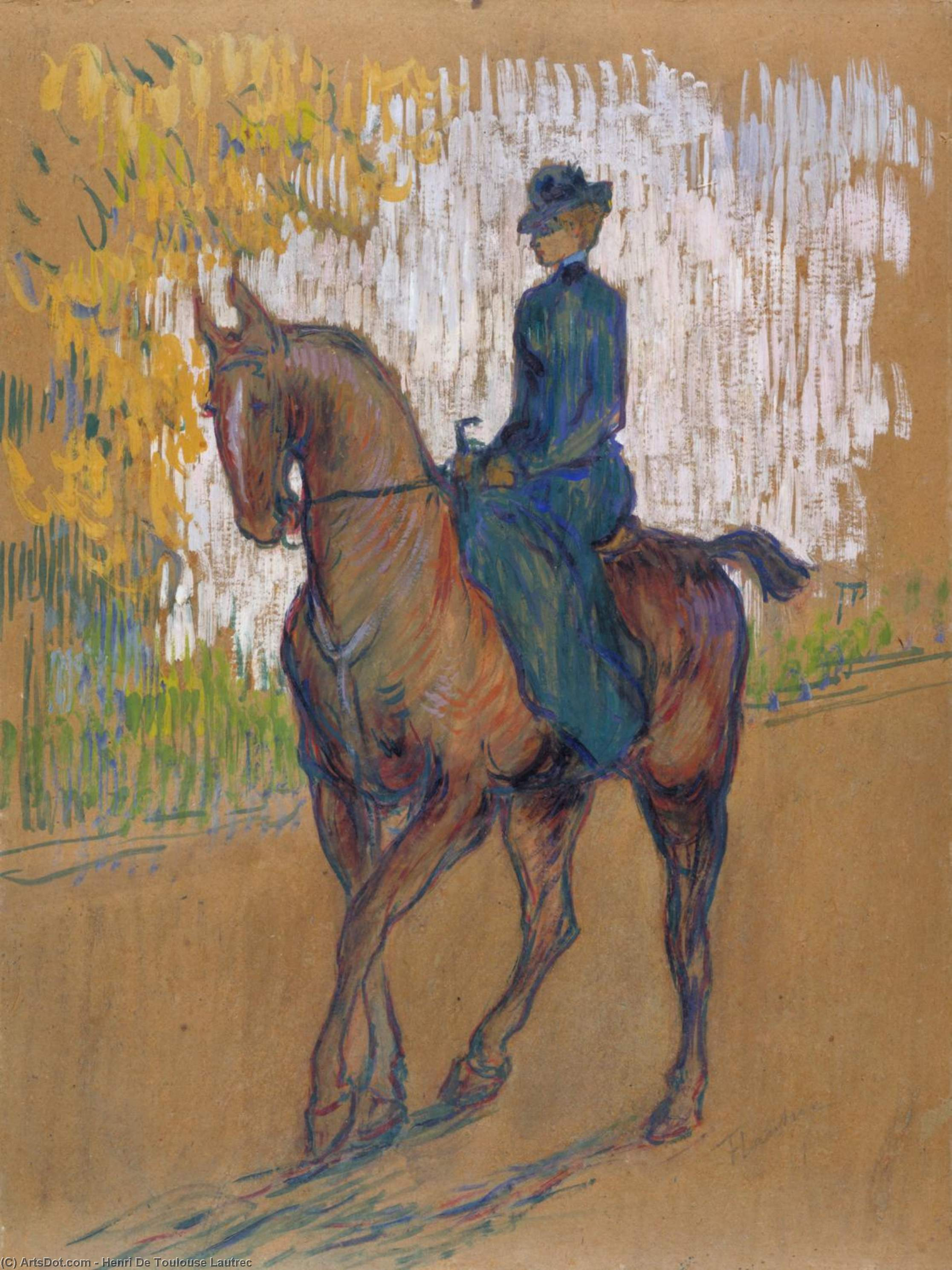 Side-Saddle, oleo en panel de Henri De Toulouse Lautrec (1864-1901, France)