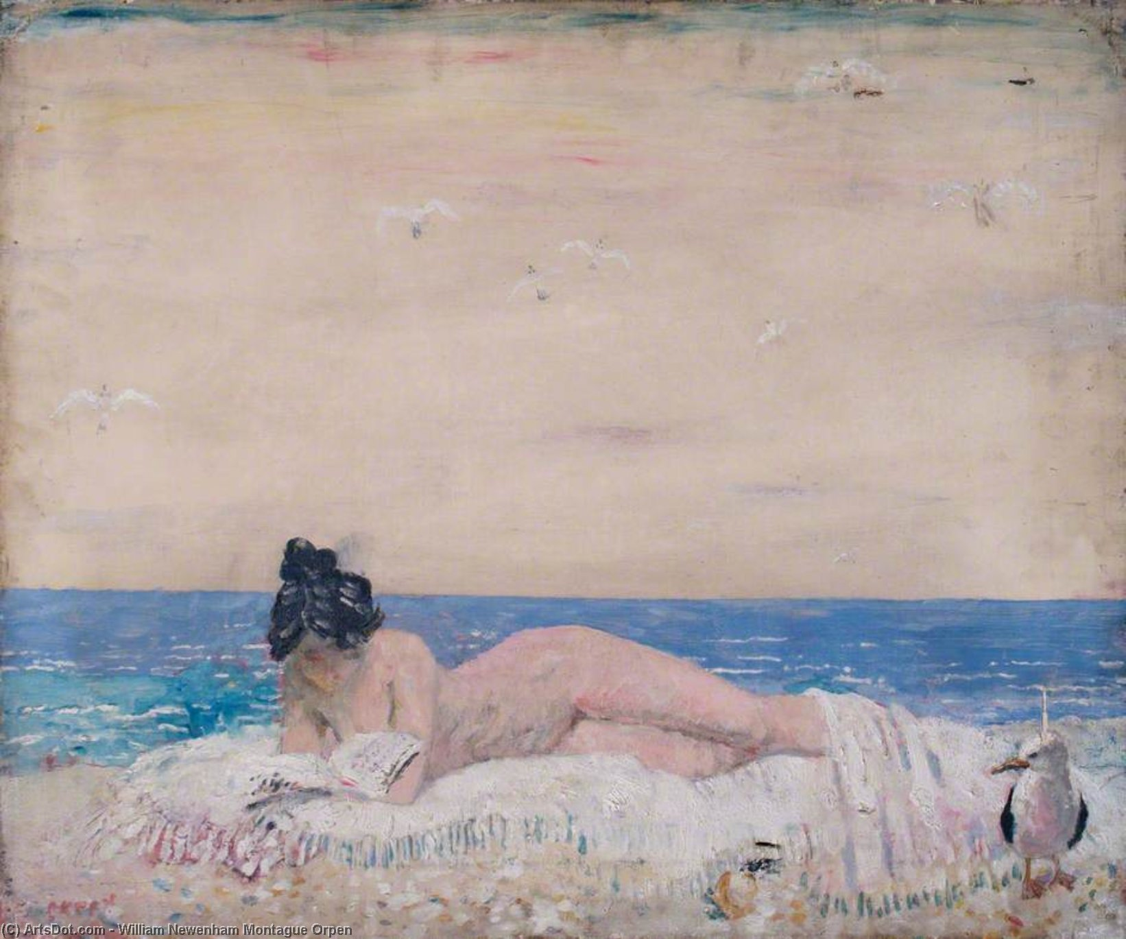desnudo femenino modelo  Lectura  en  el  orilla del mar  de William Newenham Montague Orpen (1878-1931, Ireland)