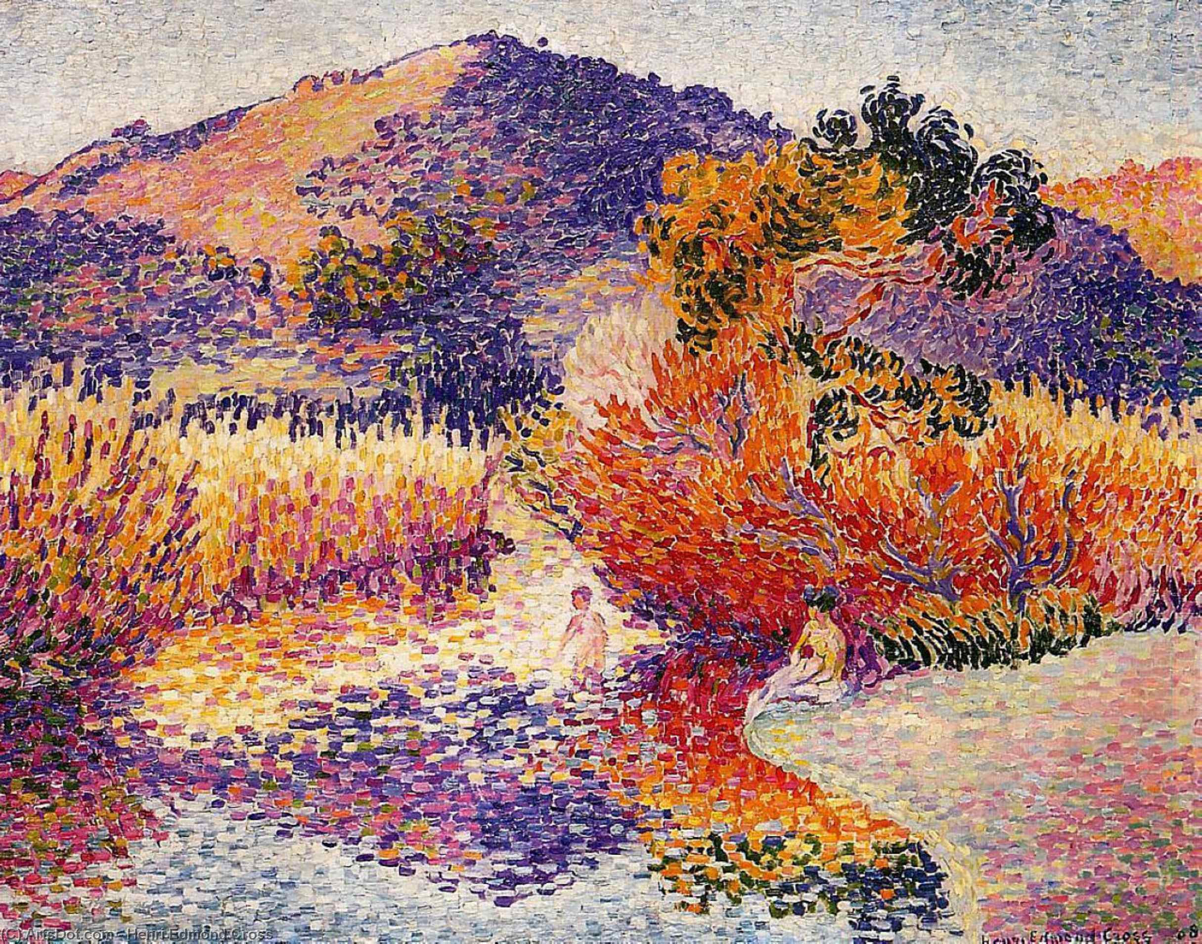 Río en Saint-cir, óleo sobre lienzo de Henri Edmond Cross (1856-1910, France)