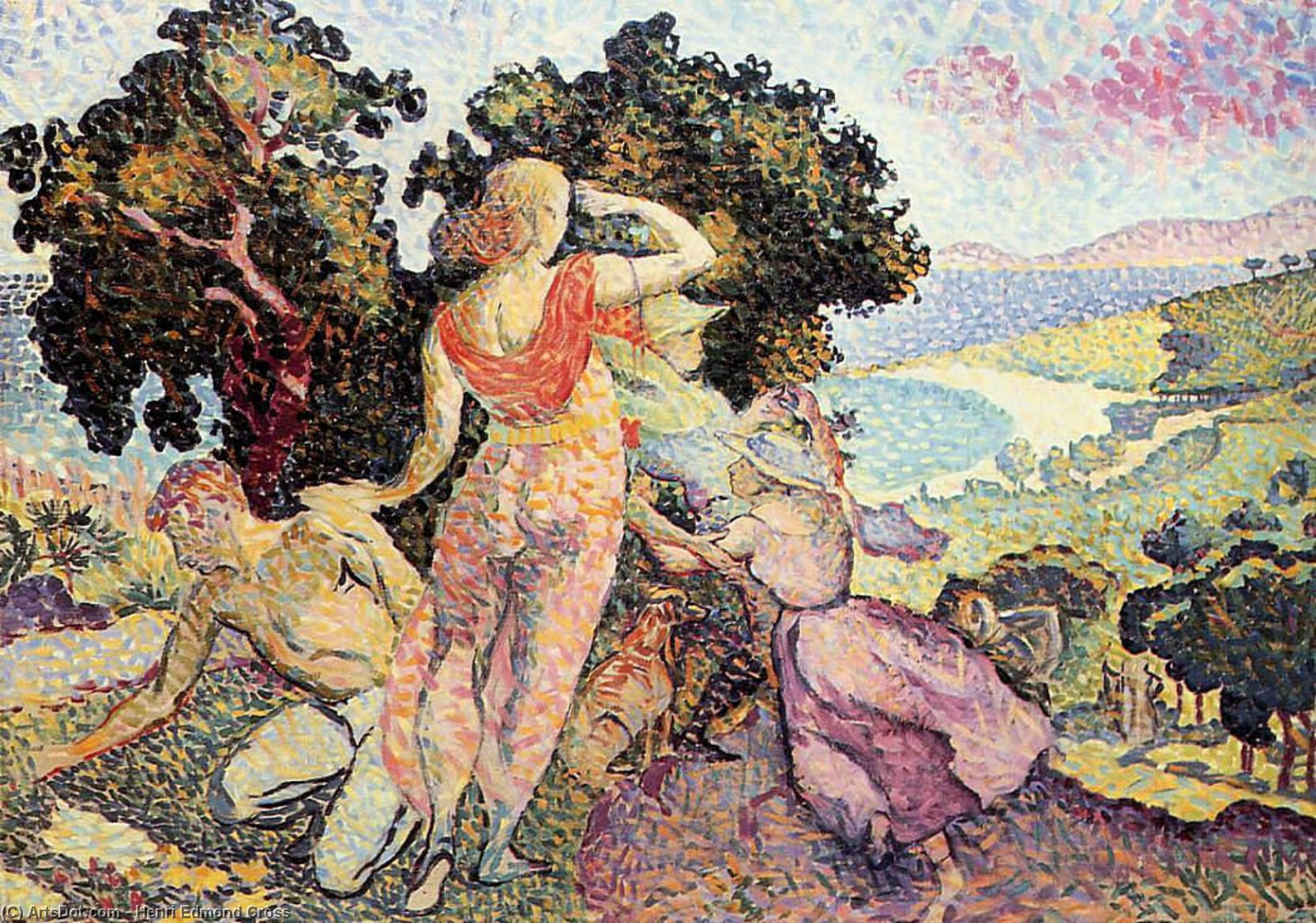 Estudio para Excuirsion, óleo sobre lienzo de Henri Edmond Cross (1856-1910, France)
