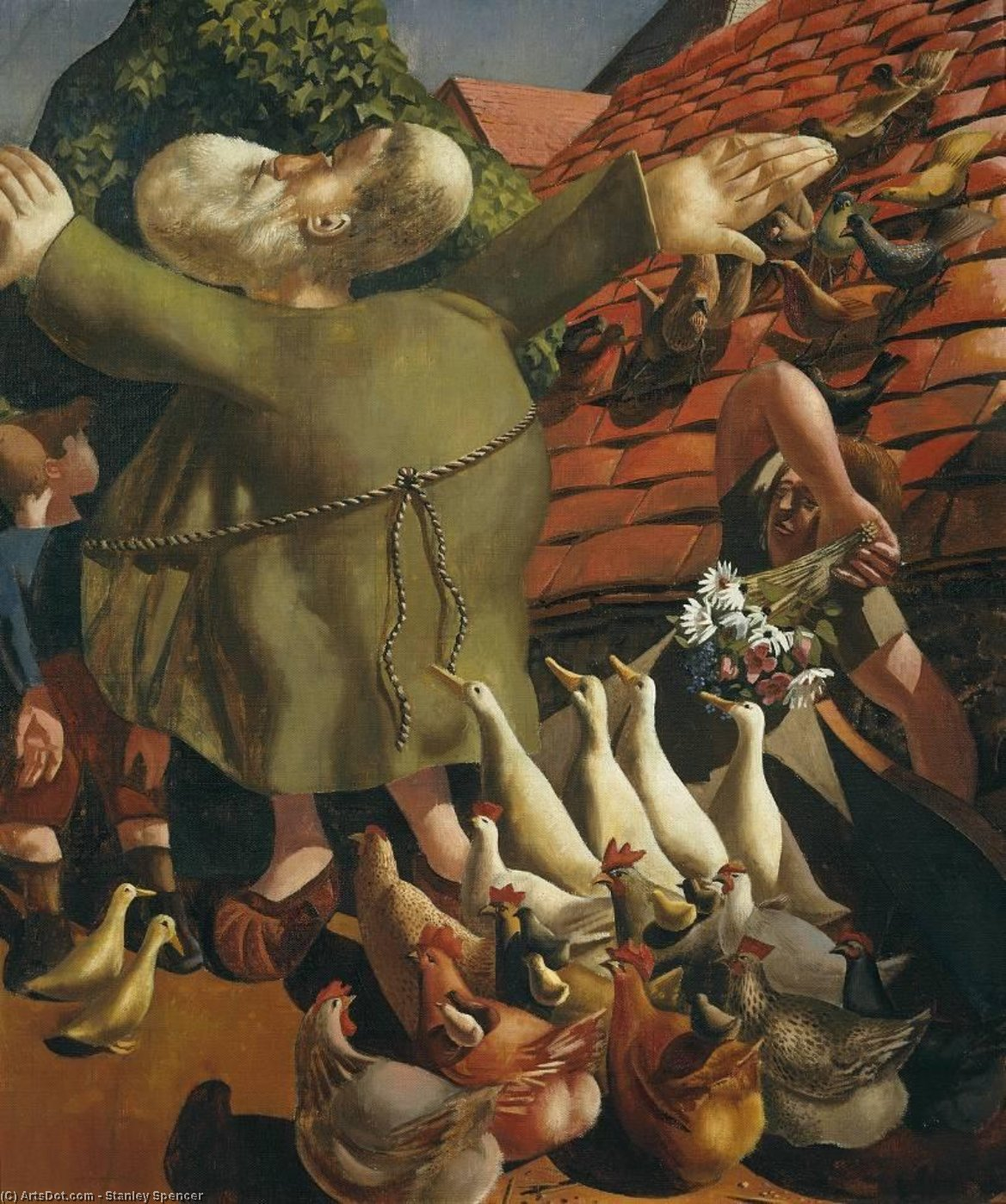 san Francis y el aves de Stanley Spencer (1891-1959, United Kingdom)