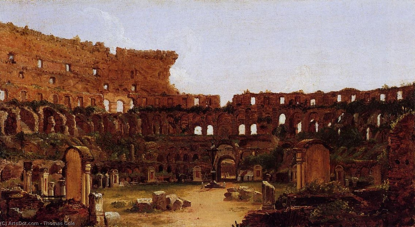 interior de la coliseo  Roma , óleo sobre lienzo de Thomas Cole (1801-1848, United Kingdom)