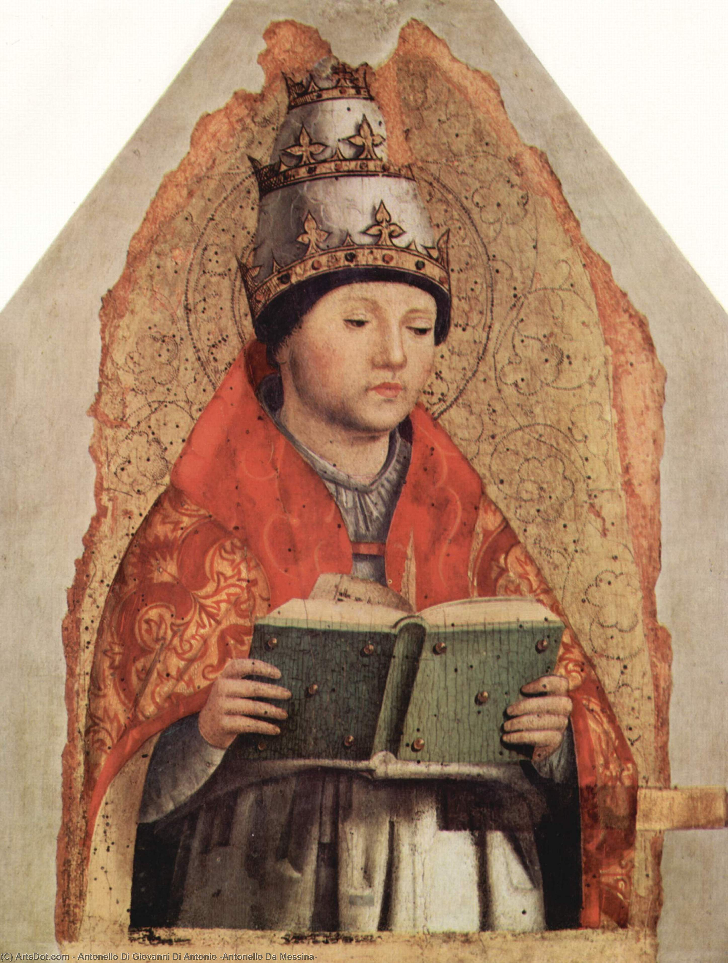 San . Gregory, temperas de Antonello Di Giovanni Di Antonio (Antonello Da Messina) (1430-1479, Italy)