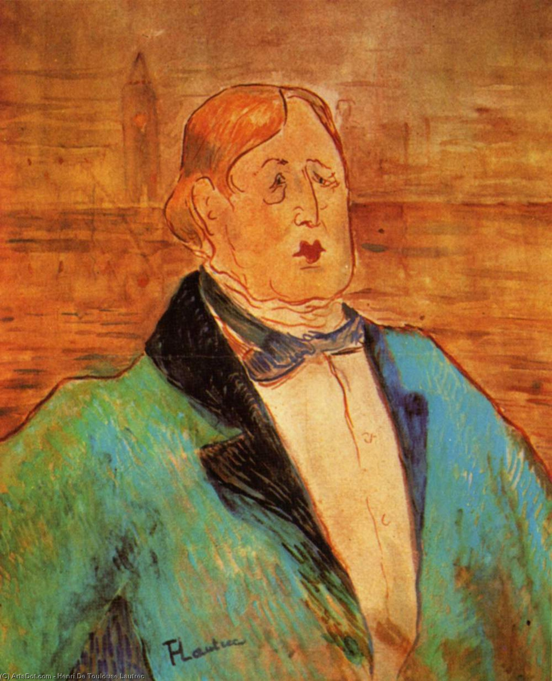 Portrait of Oscar Wilde, 1895 de Henri De Toulouse Lautrec (1864-1901, France)