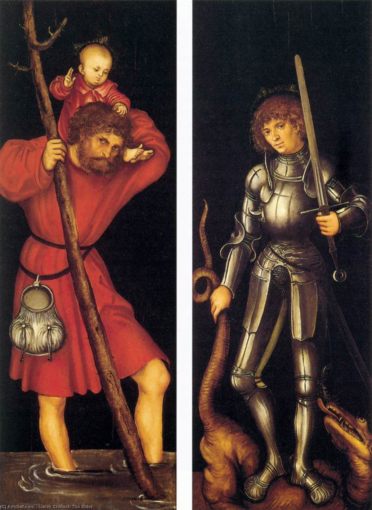 San . Christopher y san . Jorge, oleo en panel de Lucas Cranach The Elder (1472-1553, Germany)