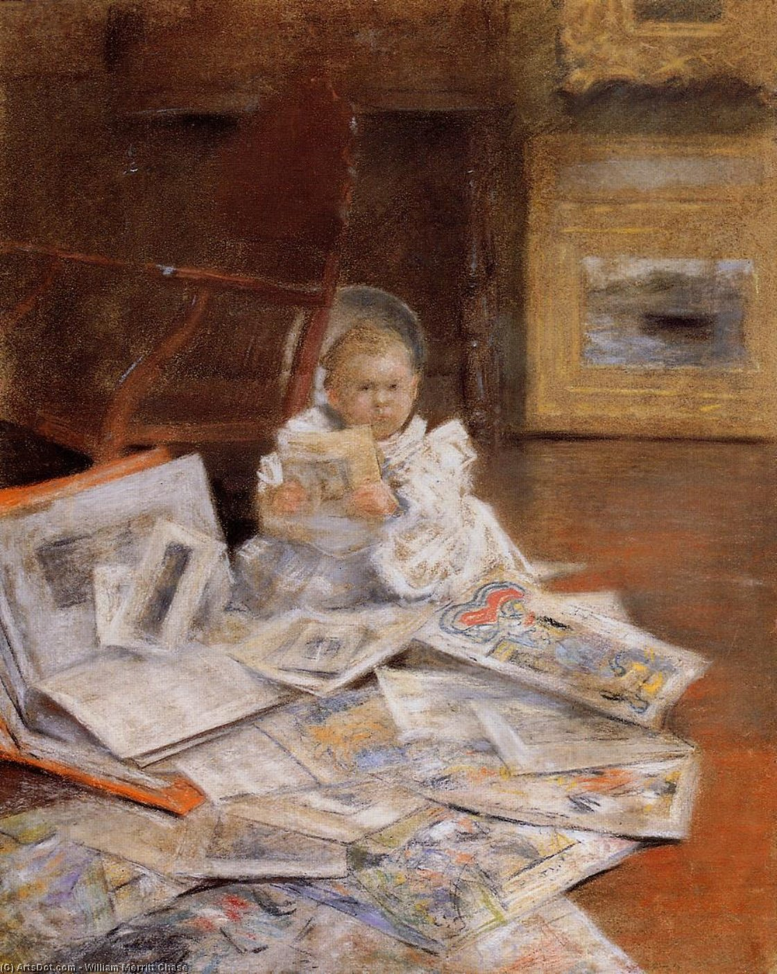 Niño con impresiones, en colores pastel de William Merritt Chase (1849-1916, United States)