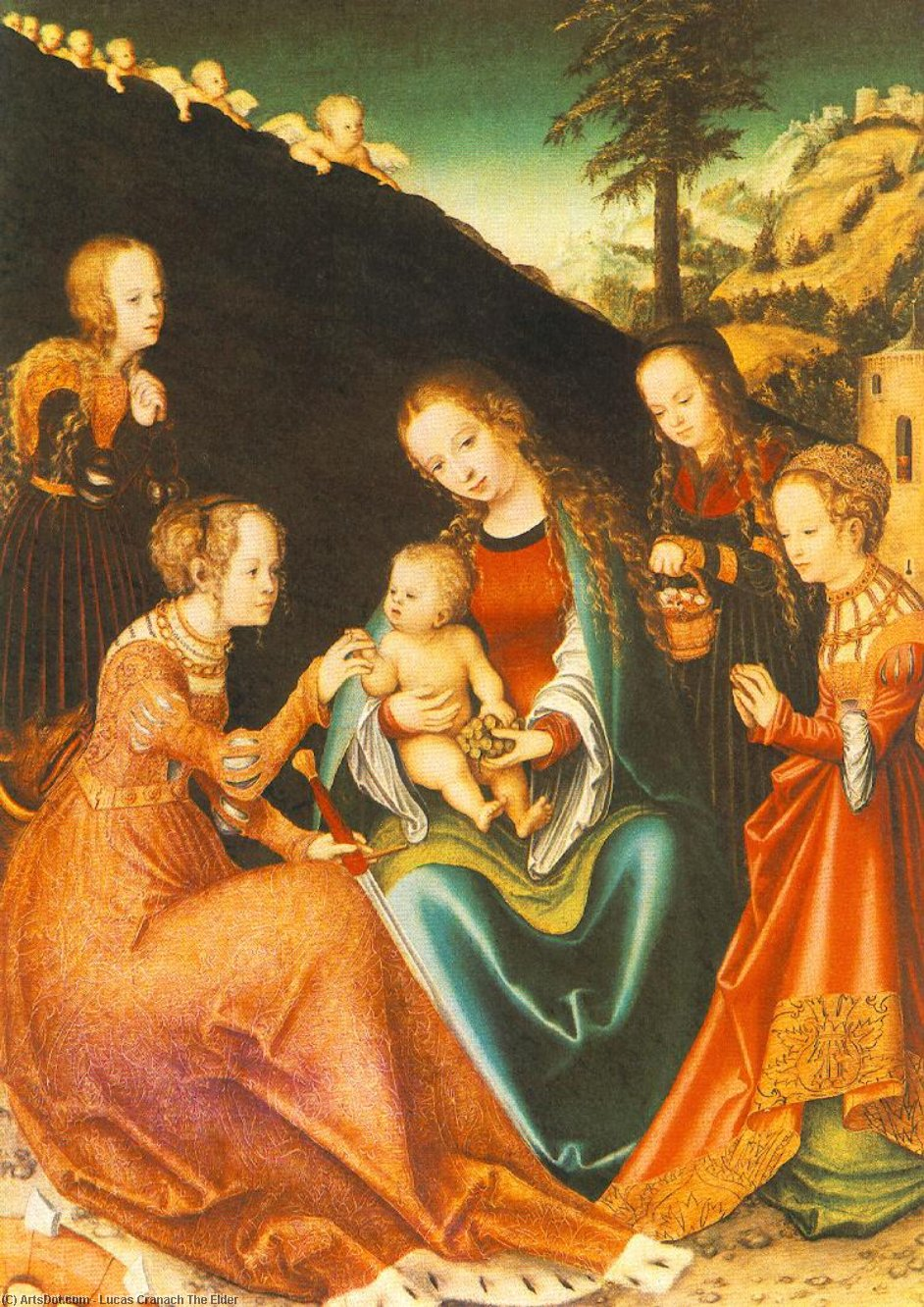 místico matrimonio de san Catherine, 1516 de Lucas Cranach The Elder (1472-1553, Germany)