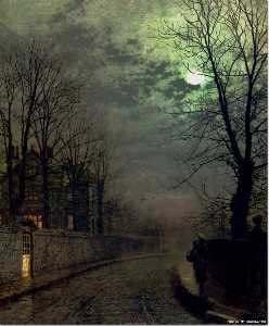 John Atkinson Grimshaw - un carril en headingley ,..