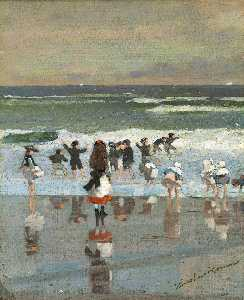 Winslow Homer - escena de la playa