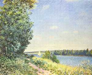 Alfred Sisley - Normandía ,  the water path , en el evening at Sahurs