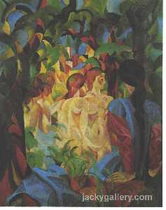 August Macke - Bañando chicas con ciudad en el backgraund