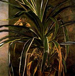 Lucian Freud - interior con cultivar  re..